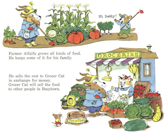 "Scan from ""What Do People Do All Day?"": Farmer Alfalfa selling produce"