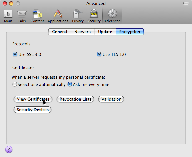 Firefox Preferences Window: Advanced -> Encryption -> Certificates