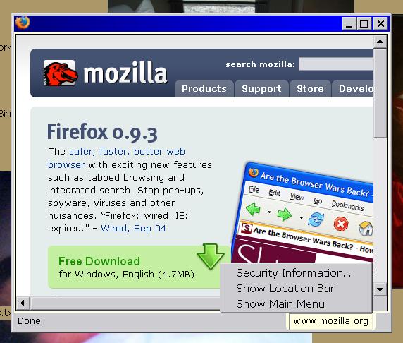 Example 4 - status bar solution, no browser UI